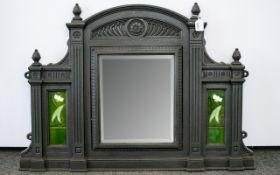 Art Nouveau Period Original and Genuine Superb Quality Cast Iron Shaped and Impressive Fire Place