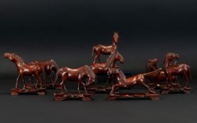 Chinese Carved Wood Figures In The Form Of The Eight Horses of King Mu Hand carved Huang wood