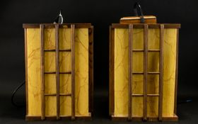 A Pair Of Oriental Style Lanterns Two ceiling pendants of rectangular form fashioned from wood and
