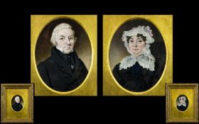 Early Victorian Period Fine Pair of Hand Painted Miniature Portraits of a Lady and Gentleman,