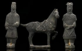 A Pair Of Chinese Terracotta Warriors Together With A Tang Style Horse Height, 6.5 inches.