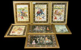 A Collection Of Seven 20th Century Indian Watercolours On Silk Depicting hunting scenes,