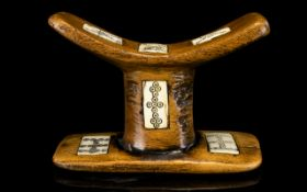 African Interest - Antique African Head Rest. With Decorated Bone Inserts. Height 5 Inches.