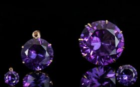 18ct Gold Single Stone Raspberry Amethyst Set Earring. The Amethyst of Wonderful Colour and Clarity.