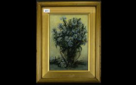 Original Oil On Canvas Signed S Collins Still life depicting an urn of daisies in pale blue and