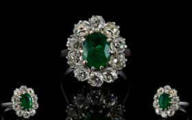 18ct White Gold Diamond & Emerald Cluster Ring Oval Green Emerald Surrounded By 10 Round Cut