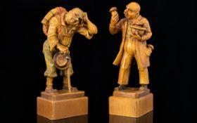 Pair of German/Swiss Hand Carved Cedar Wood Figures/Sculptures circa 1940/50s. Heights 7 2 & 7.