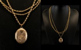 Antique Period - Superb Triple Strand 9ct Gold Long Chain with Attached Antique - 9ct Gold Oval