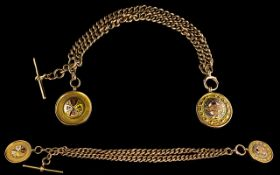 Edwardian Period Excellent Quality 9ct Gold Double Albert Watch Chain ( All Links with Full