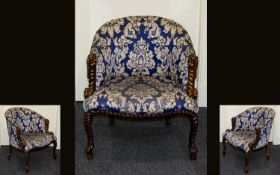 French Napoleon III Period Style - Rope Twist Framed Tub Chair In The Manner of Fournier,