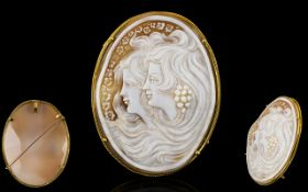 Art Nouveau Period 18ct Gold Mounted Superb and Impressive Large Carved Shell Cameo Pendant /