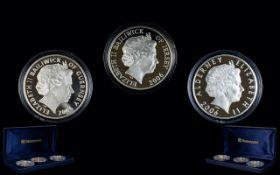 Royal Mint Queens Portrait Silver Proof Coin Set Celebrating Queen Elizabeth II 80th Birthday.