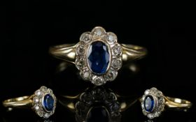Ladies - Attractive Nice Quality 1960's Diamond and Sapphire Cluster Ring, Flower head Design.