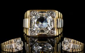 Gents - Large 9ct Gold Impressive and Heavy Rolex Style - Single Stone Dress Ring.
