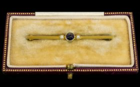 Antique 15ct Gold Attractive Lavender Sapphire and Seed Pearl Set Stick Brooch. Marked 15ct.