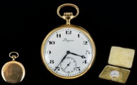 14ct Gold Longines Open Faced Pocket Watch, White Enamelled Dial,