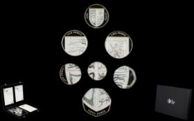 The Royal Mint 2008 United Kingdom Coinage Royal Shield of Arms Silver Proof Coin Collection ( 7 )