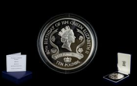 Royal Mint The Queens Birthday 2006 Alderney Diamond £10 Pound Silver Proof Coin,