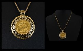 Queen Victoria 22ct Full Gold Sovereign - Set In a Circular 9ct Gold Mount and Attached 9ct Gold