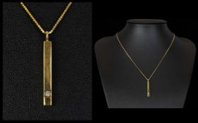 Contemporary 9ct Gold Bar Shaped Diamond Set Pendant, with Attached 9ct Gold Chain,