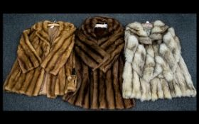 A Collection Of Vintage Fur Coats Three in total to include 1970's Arctic fox jacket,