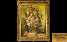 Antique Original Oil On Board Floral Still Life Signed 'L Meszaras' Housed in ornate brushed gilt