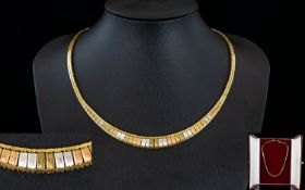 Ladies - Stunning and Quality 1970's 3 Tone Classic Design 9ct Gold Necklace In Pristine