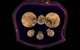 Antique Period 15ct Gold Cased Gents Set of Studs. Boxed, Please See Photo.