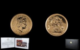Royal Mint Ltd and Numbered Her Majesty The Queens 22ct Gold Sovereign Presentation Cover.