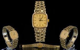 Omega Watch Co Ladies 9ct Gold Manuel Wind Bracelet Wrist Watch.
