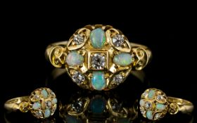 Edwardian Period Superb Quality and Attractive 18ct Gold Diamond and Opal Cluster Ring,