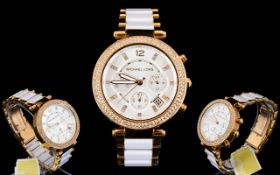 Michael Kors MK 5774 Ladies Parker - White and Pink Two Tone Ceramic Chronograph Watch.