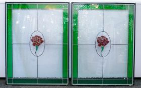 A Pair Of Stained Glass Leaded Units Two contemporary double glazed glass panels.