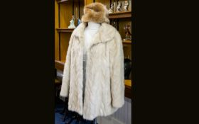Blonde Mink Short Jacket, collar with revers, slit pockets, straight sleeves with horizontal,