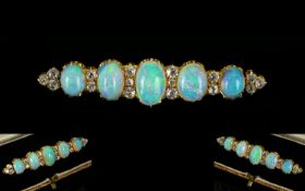 Victorian Period 18ct Gold Superb Quality & Stunning Opal & Diamond Set Brooch. The five-top quality