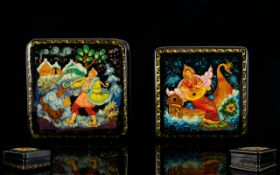 Russian Lacquer Table Boxes Two in total, each in wonderful condition, comprises, 1.