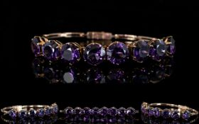 Edwardian Period - Superb and Attractive Ladies 9ct Gold Raspberry Amethyst Set Bracelet Set with