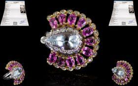 14ct Two Tone Gold Superb Quality Aquamarine Pink Sapphire and Diamond Set Dress Ring,