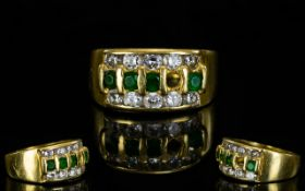 18ct Gold - Good Quality Attractive Emerald and Diamond Channel Set Ring,