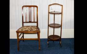 Edwardian Three Tier Folding Cake Stand Together With A Single Salon Chair