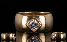 A Gents 9ct Gold Diamond Ring Set with a round modern brilliant cut diamond,