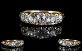 Antique Period - 18ct Gold Superb Quality 5 Stone Diamond Set Dress Ring, Gallery Setting,