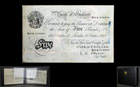 Historic White Fiver Bank of England White Five Pound Note. Date 1955 17th October, Chief Cashier L.