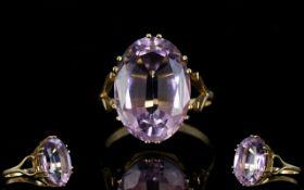 1970's 9ct Gold Single Stone Gallery Set Amethyst Dress Ring.