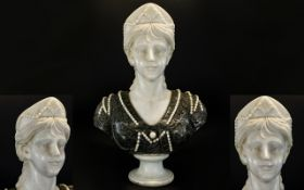 A Late 19th /Early 20th Century Art Nouveau Marble Portrait Bust - Possibly Queen Alexandra Of