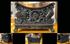 Chinese Late 19th Century Elaborately Carved Dragon Zitan & Hongmu Throne/Stool.