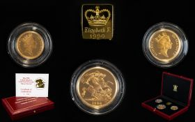 Royal Mint Ltd and Numbered 1990 United Kingdom Gold Proof Sovereign - 3 Coin Set.