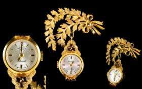 Ladies 9ct Gold Nice Quality Nurses / Brooch Watch ( Rotary ) The Watch Set with Garnets. c.