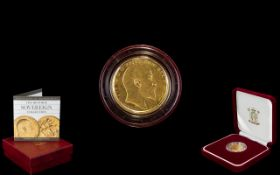 Royal Mint Issue - Edward VII De Saulles Head 22ct Gold Full Sovereign - Date 1906.
