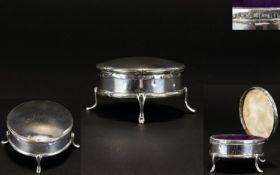 Edwardian Period Circular Shaped Hinged Silver Trinket Box, Raised on 4 Splayed Legs. Hallmark
